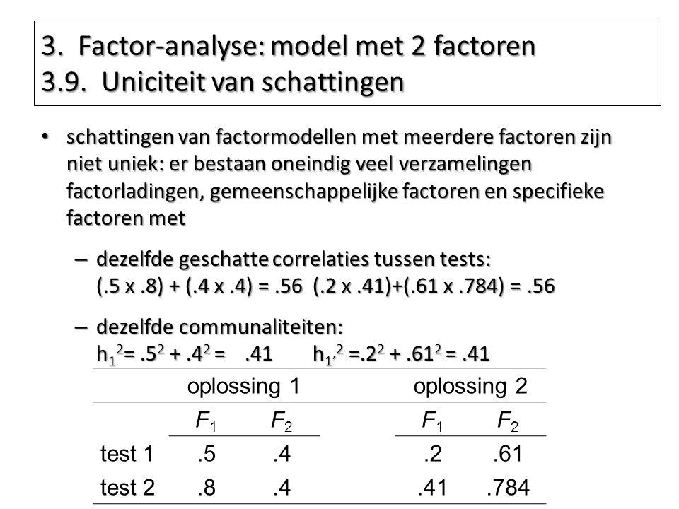 3. Factor-analyse: model met 2 factoren 3.9. Uniciteit van schattingen schattingen van factormodellen met meerdere factoren zijn niet uniek: er bestaa