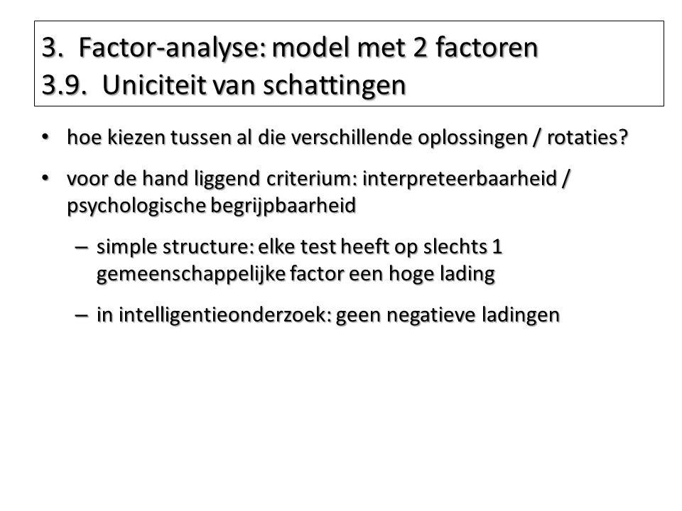 3. Factor-analyse: model met 2 factoren 3.9. Uniciteit van schattingen hoe kiezen tussen al die verschillende oplossingen / rotaties? hoe kiezen tusse
