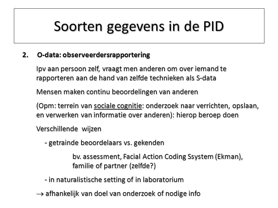 Soorten gegevens in de PID 2. O-data: observeerdersrapportering Ipv aan persoon zelf, vraagt men anderen om over iemand te rapporteren aan de hand van