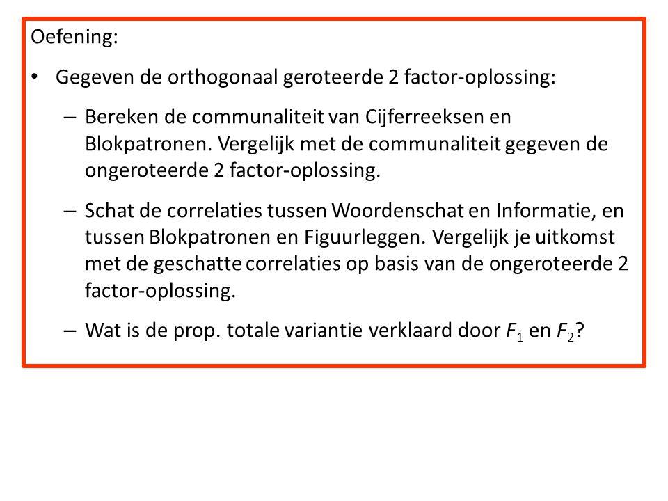 Oefening: Gegeven de orthogonaal geroteerde 2 factor-oplossing: – Bereken de communaliteit van Cijferreeksen en Blokpatronen. Vergelijk met de communa