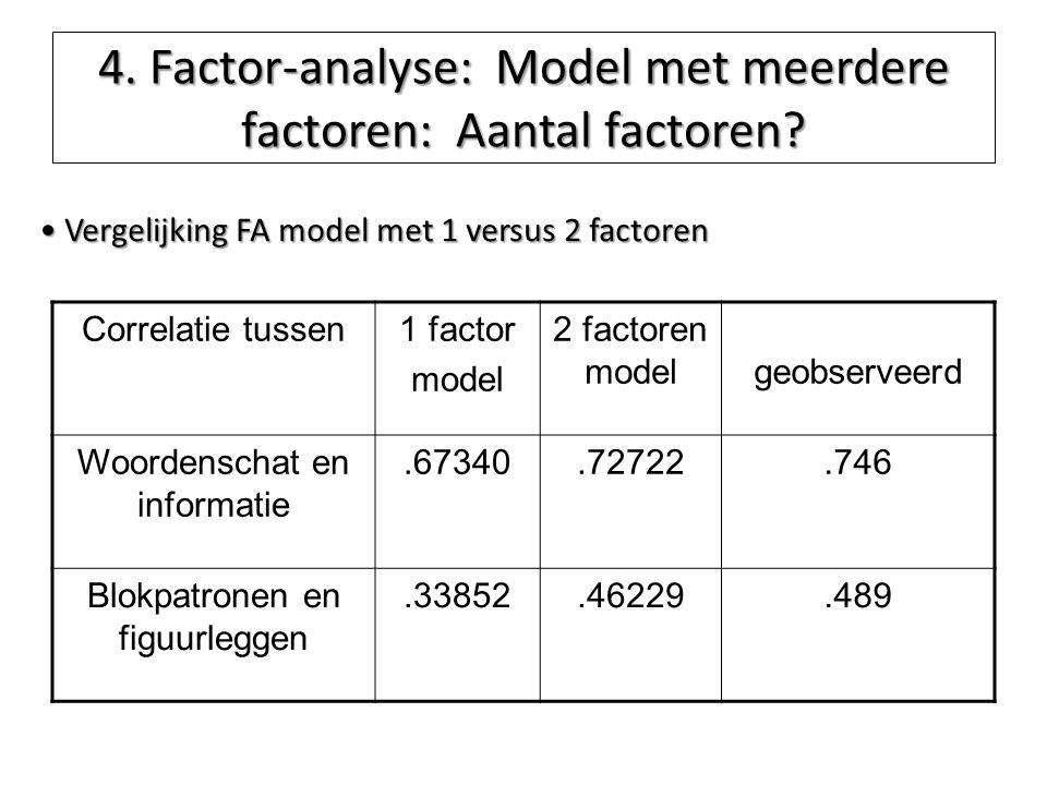 4. Factor-analyse: Model met meerdere factoren: Aantal factoren? Vergelijking FA model met 1 versus 2 factoren Vergelijking FA model met 1 versus 2 fa