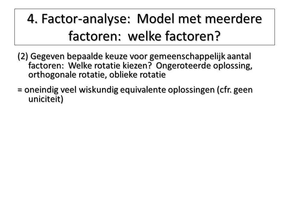 4. Factor-analyse: Model met meerdere factoren: welke factoren? (2) Gegeven bepaalde keuze voor gemeenschappelijk aantal factoren: Welke rotatie kieze