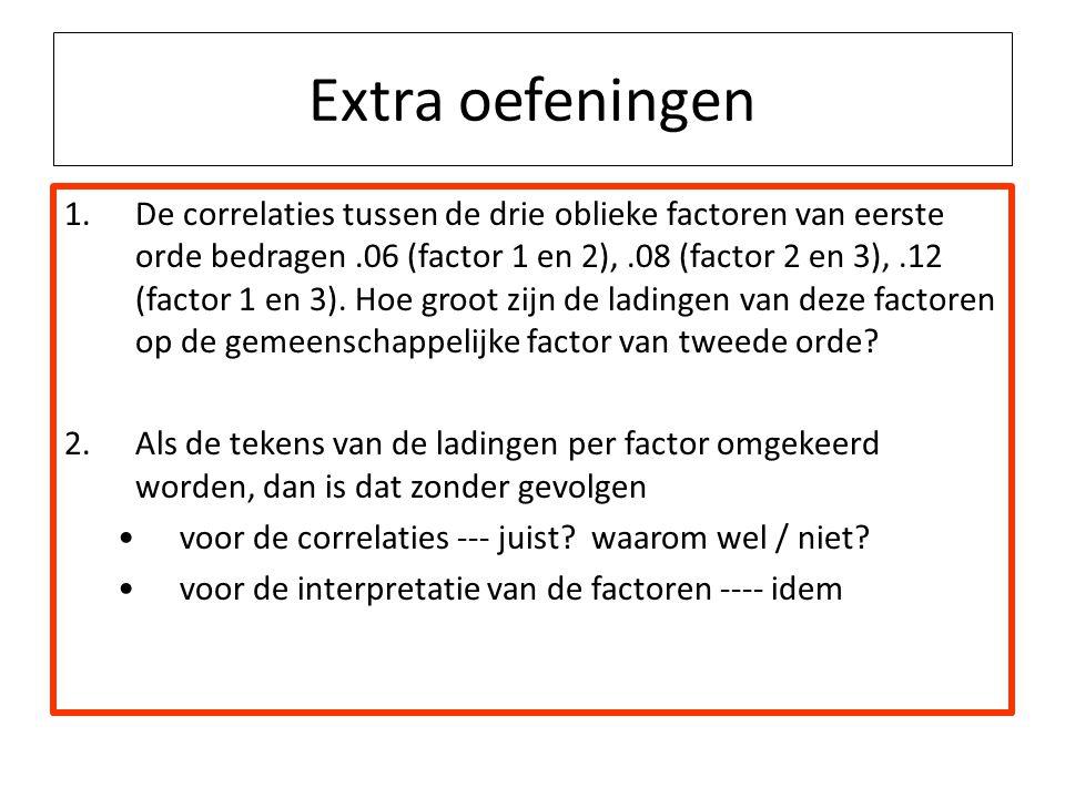 Extra oefeningen 1.De correlaties tussen de drie oblieke factoren van eerste orde bedragen.06 (factor 1 en 2),.08 (factor 2 en 3),.12 (factor 1 en 3).