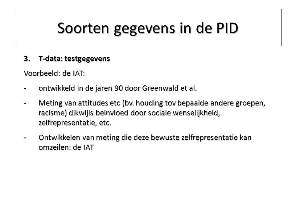 Soorten gegevens in de PID 3.T-data: testgegevens Voorbeeld: de IAT: -ontwikkeld in de jaren 90 door Greenwald et al. -Meting van attitudes etc (bv. h