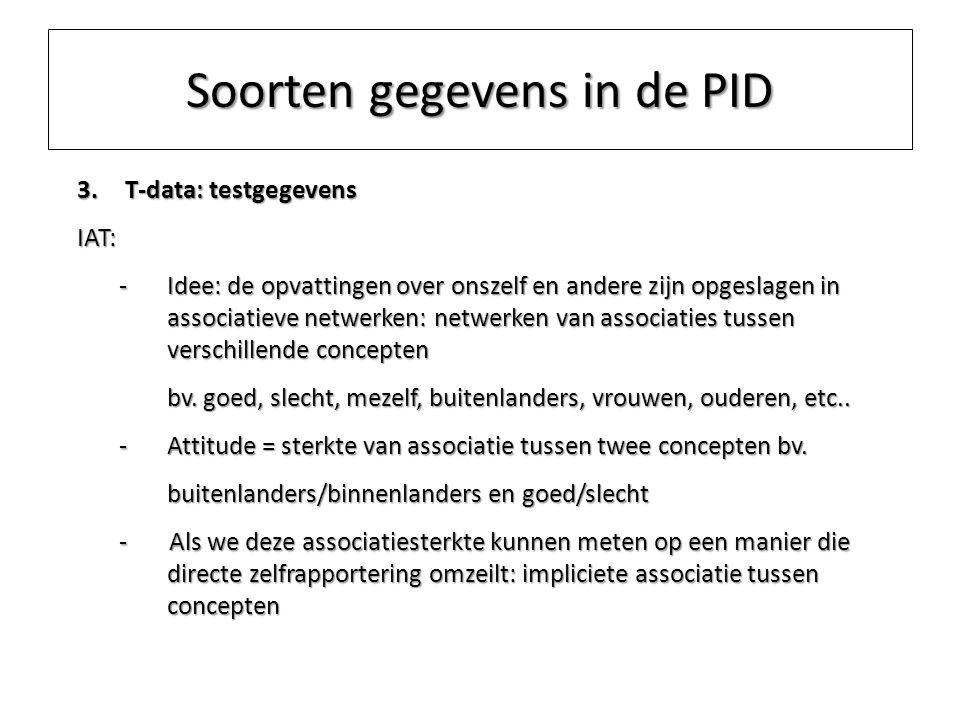Soorten gegevens in de PID 3.T-data: testgegevens IAT: -Idee: de opvattingen over onszelf en andere zijn opgeslagen in associatieve netwerken: netwerk