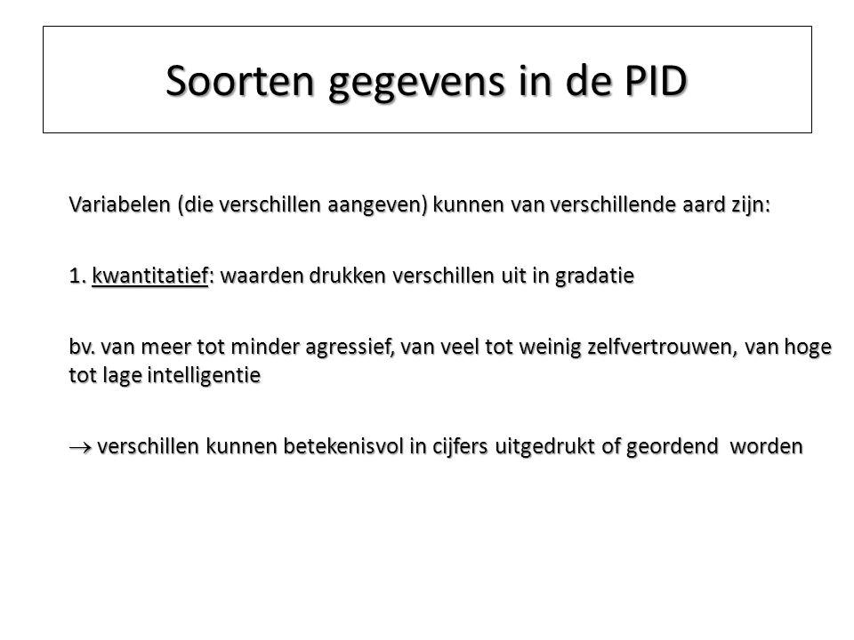 Soorten gegevens in de PID Variabelen (die verschillen aangeven) kunnen van verschillende aard zijn: 1. kwantitatief: waarden drukken verschillen uit