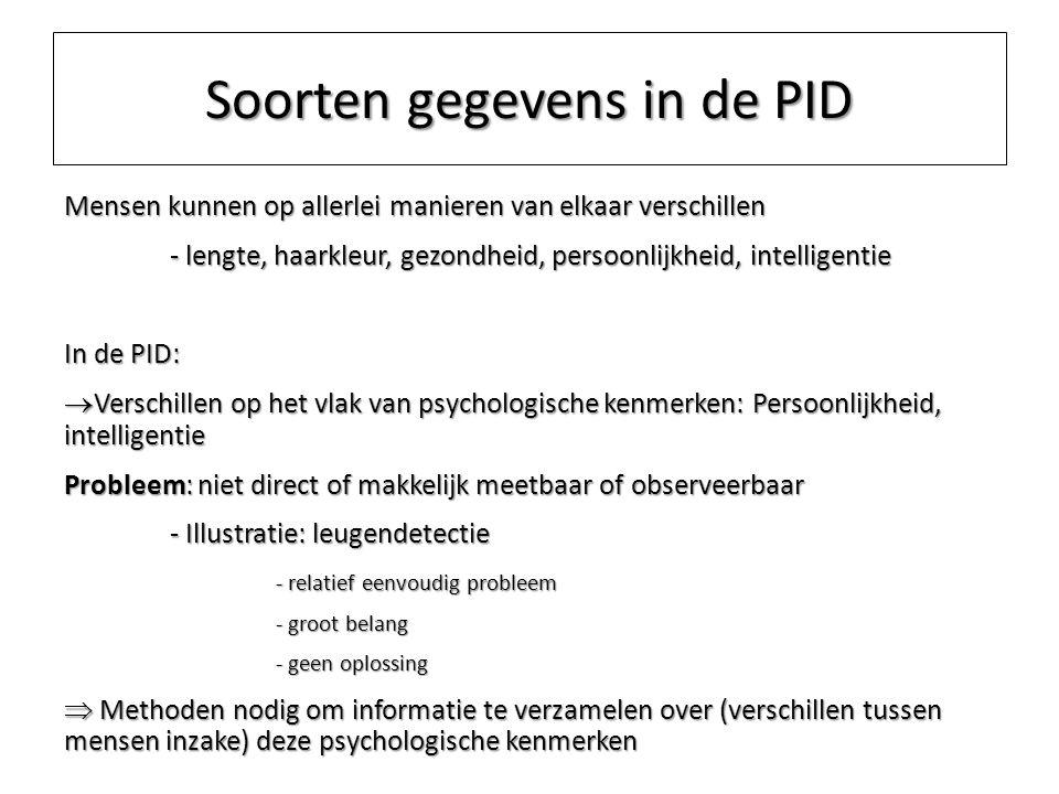 Soorten gegevens in de PID Mensen kunnen op allerlei manieren van elkaar verschillen - lengte, haarkleur, gezondheid, persoonlijkheid, intelligentie I