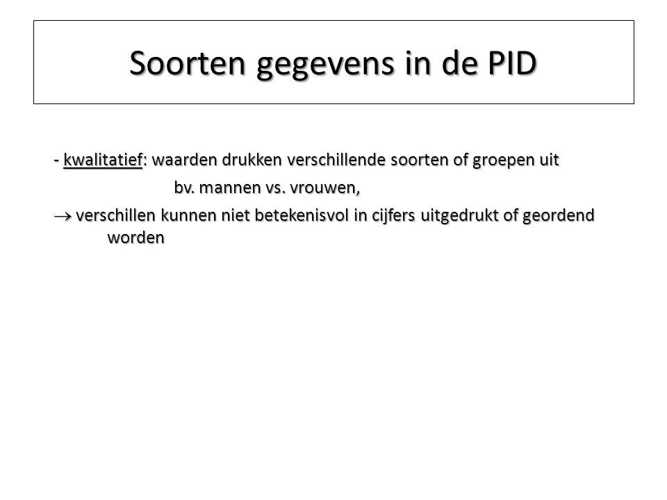 Soorten gegevens in de PID - kwalitatief: waarden drukken verschillende soorten of groepen uit bv. mannen vs. vrouwen,  verschillen kunnen niet betek