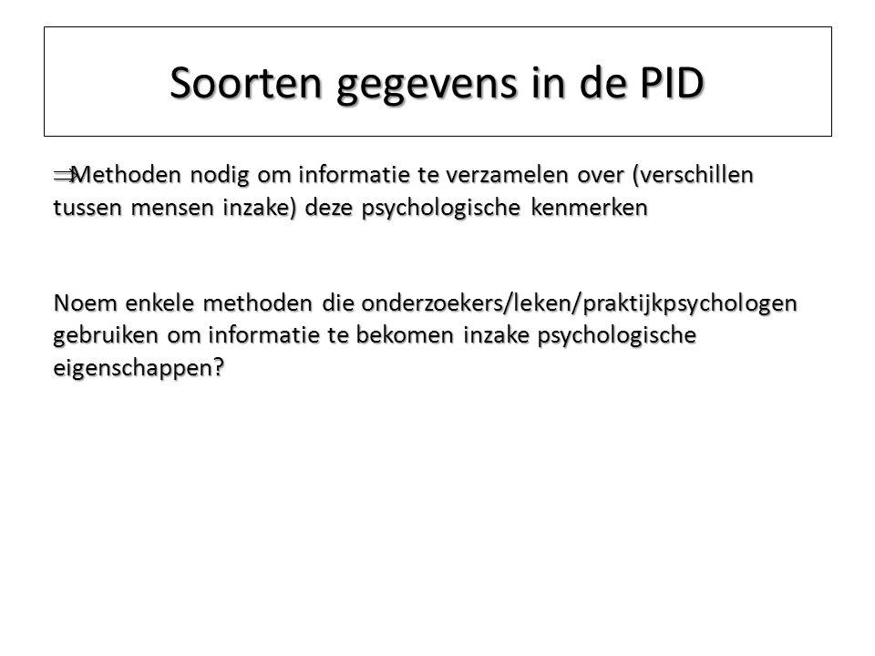Soorten gegevens in de PID  Methoden nodig om informatie te verzamelen over (verschillen tussen mensen inzake) deze psychologische kenmerken Noem enk