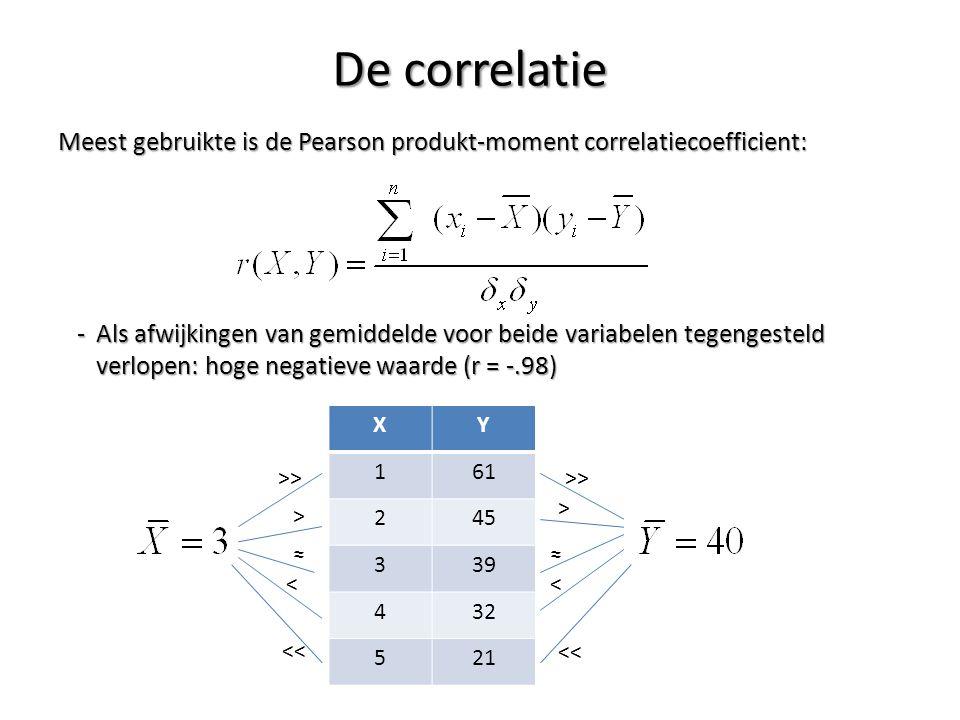 De correlatie Meest gebruikte is de Pearson produkt-moment correlatiecoefficient: -Als afwijkingen van gemiddelde voor beide variabelen tegengesteld v