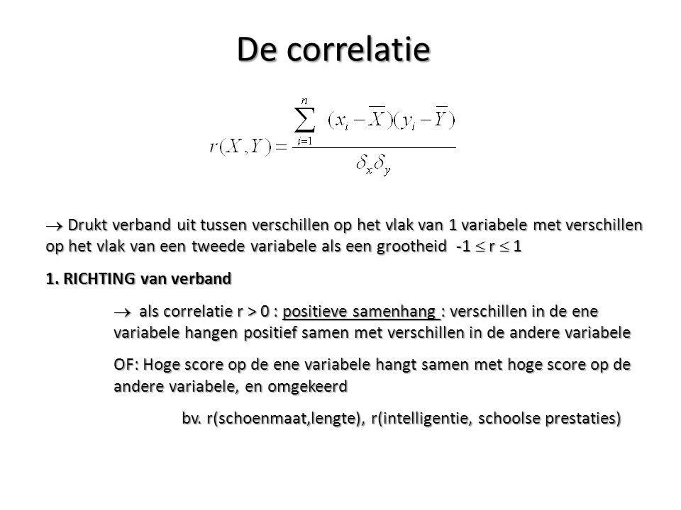 De correlatie  Drukt verband uit tussen verschillen op het vlak van 1 variabele met verschillen op het vlak van een tweede variabele als een groothei