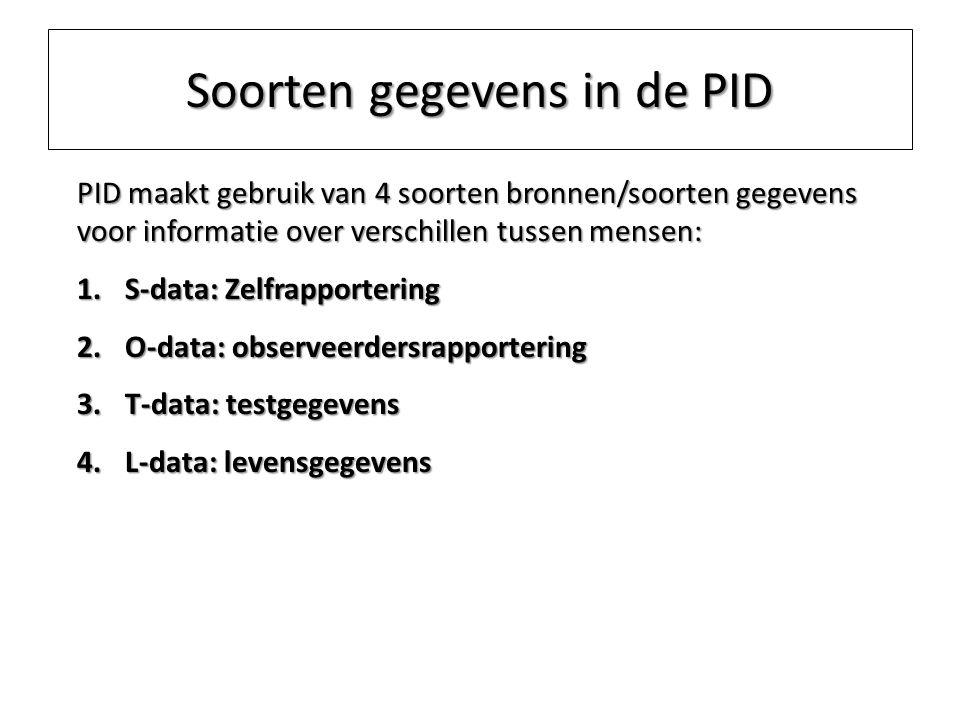 Soorten gegevens in de PID PID maakt gebruik van 4 soorten bronnen/soorten gegevens voor informatie over verschillen tussen mensen: 1.S-data: Zelfrapp