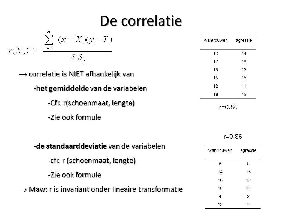 De correlatie  correlatie is NIET afhankelijk van -het gemiddelde van de variabelen -Cfr. r(schoenmaat, lengte) -Zie ook formule -de standaarddeviati