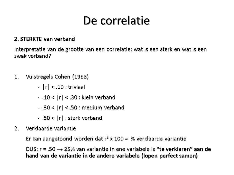 2. STERKTE van verband Interpretatie van de grootte van een correlatie: wat is een sterk en wat is een zwak verband? 1.Vuistregels Cohen (1988) - |r|