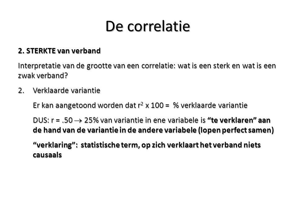 2. STERKTE van verband Interpretatie van de grootte van een correlatie: wat is een sterk en wat is een zwak verband? 2.Verklaarde variantie Er kan aan