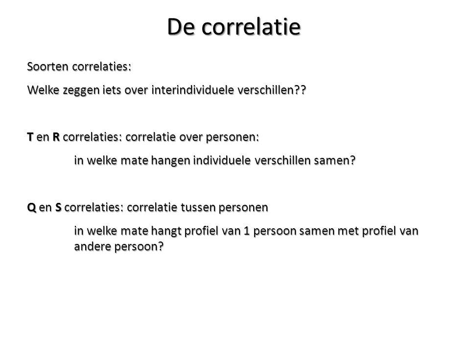 Soorten correlaties: Welke zeggen iets over interindividuele verschillen?? T en R correlaties: correlatie over personen: in welke mate hangen individu