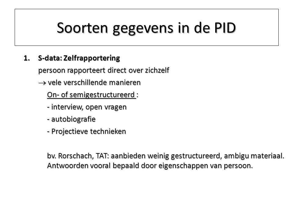 Soorten gegevens in de PID 1.S-data: Zelfrapportering persoon rapporteert direct over zichzelf  vele verschillende manieren On- of semigestructureerd
