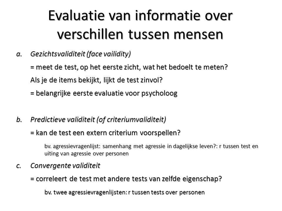 a.Gezichtsvaliditeit (face vailidity) = meet de test, op het eerste zicht, wat het bedoelt te meten? Als je de items bekijkt, lijkt de test zinvol? =