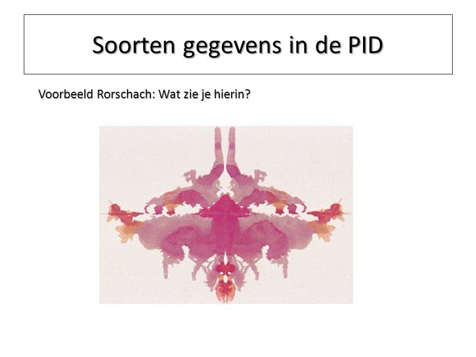 Soorten gegevens in de PID Voorbeeld Rorschach: Wat zie je hierin?