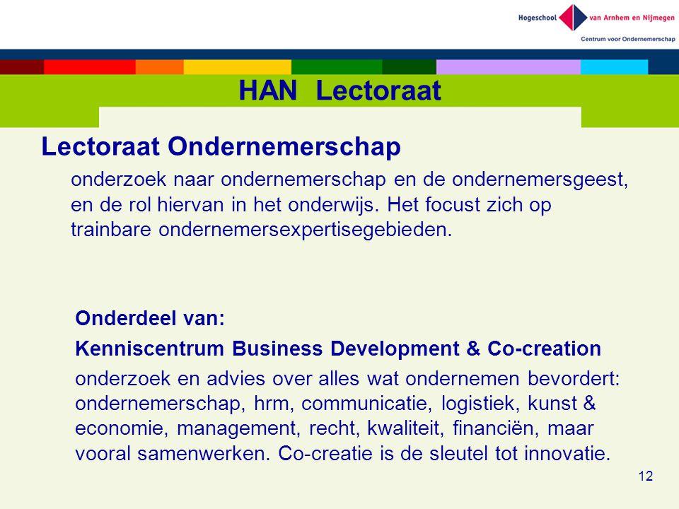 HAN Lectoraat Lectoraat Ondernemerschap onderzoek naar ondernemerschap en de ondernemersgeest, en de rol hiervan in het onderwijs. Het focust zich op