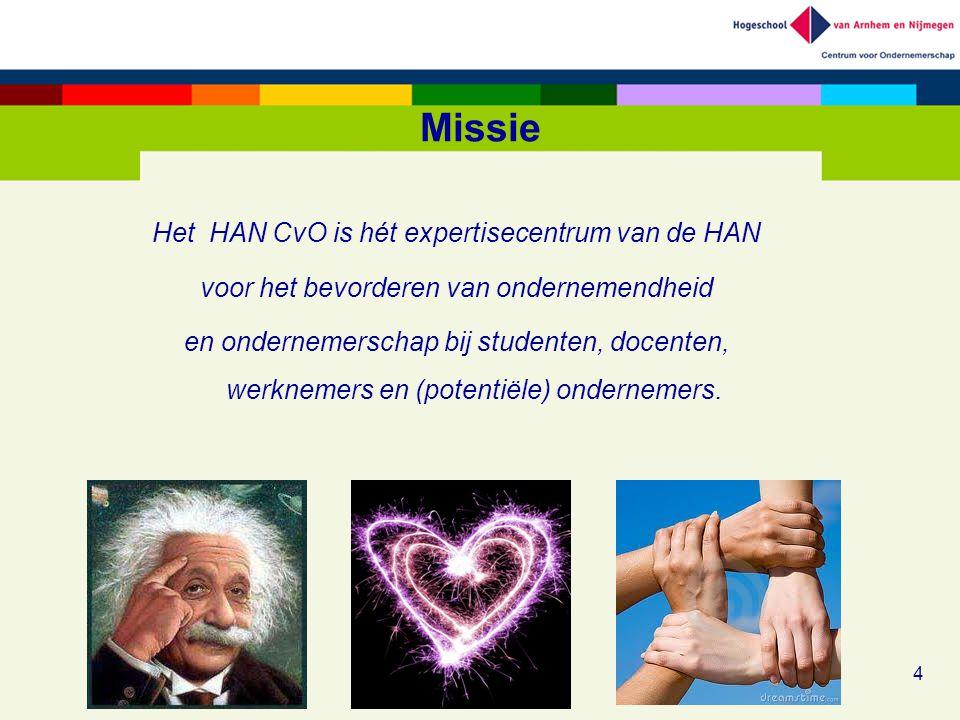 Missie Het HAN CvO is hét expertisecentrum van de HAN voor het bevorderen van ondernemendheid en ondernemerschap bij studenten, docenten, werknemers e