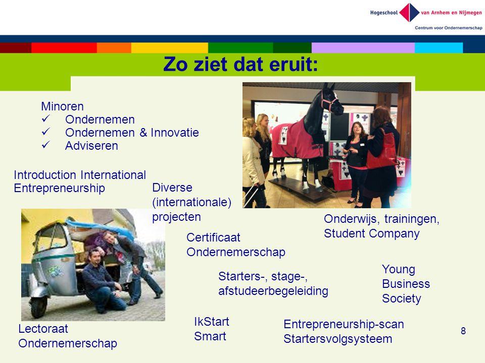 Zo ziet dat eruit: 8 Onderwijs, trainingen, Student Company Introduction International Entrepreneurship Starters-, stage-, afstudeerbegeleiding Young