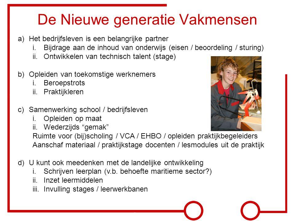 De Nieuwe generatie Vakmensen a)Het bedrijfsleven is een belangrijke partner i.Bijdrage aan de inhoud van onderwijs (eisen / beoordeling / sturing) ii