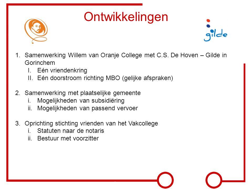 Ontwikkelingen 1.Samenwerking Willem van Oranje College met C.S. De Hoven – Gilde in Gorinchem I.Eén vriendenkring II.Eén doorstroom richting MBO (gel