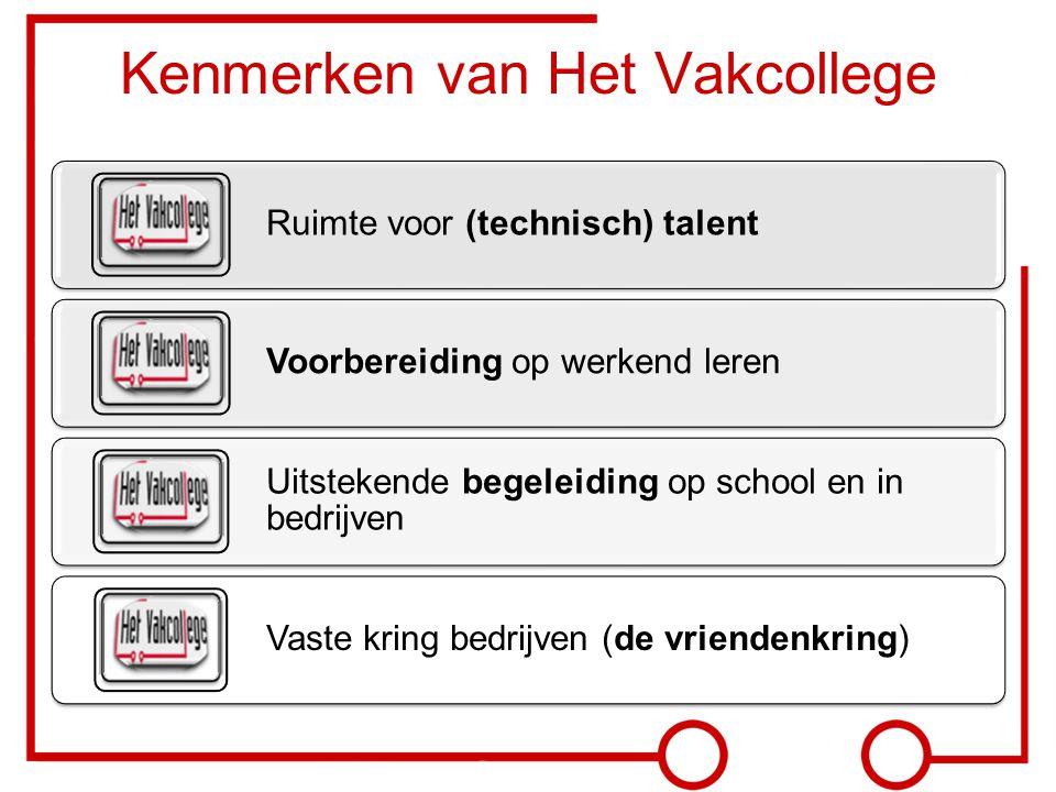 Kenmerken van Het Vakcollege Ruimte voor (technisch) talent Voorbereiding op werkend leren Uitstekende begeleiding op school en in bedrijven Vaste kri