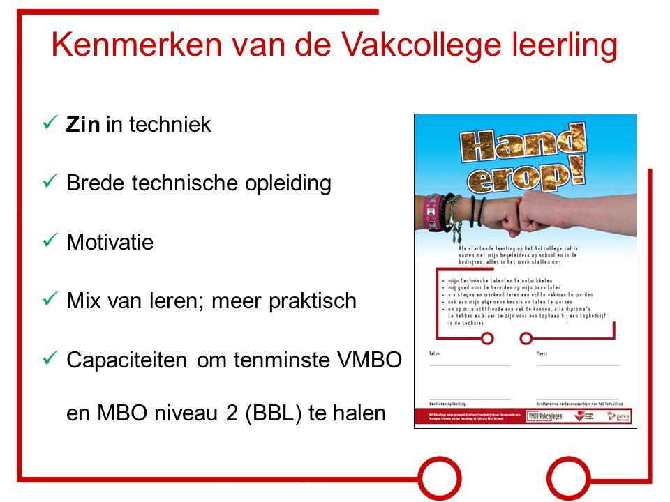 Zin in techniek Brede technische opleiding Motivatie Mix van leren; meer praktisch Capaciteiten om tenminste VMBO en MBO niveau 2 (BBL) te halen Kenme