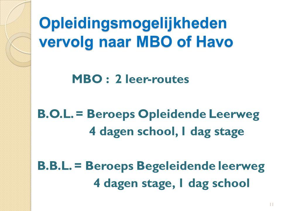 11 Opleidingsmogelijkheden vervolg naar MBO of Havo MBO : 2 leer-routes B.O.L.
