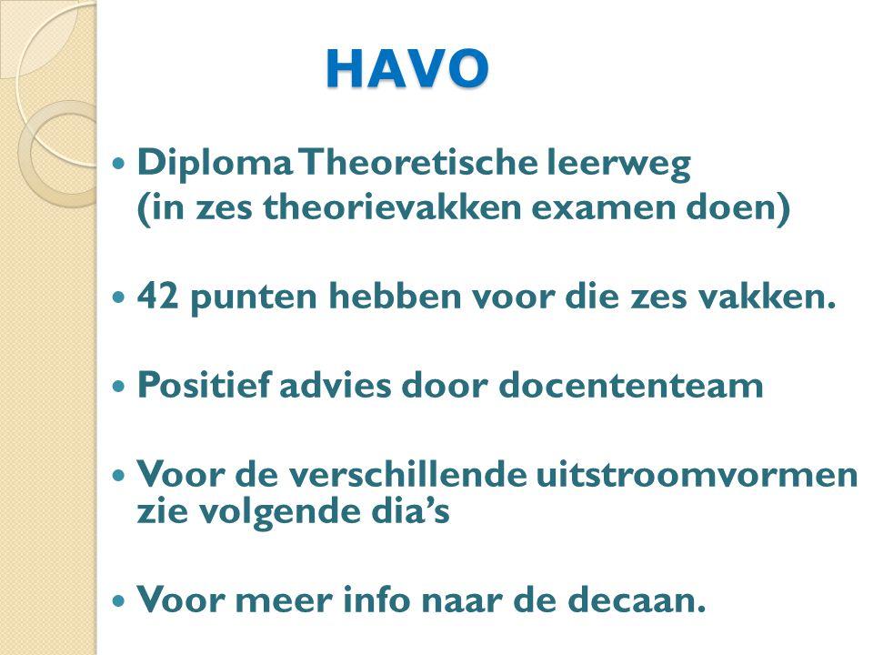 HAVO HAVO Diploma Theoretische leerweg (in zes theorievakken examen doen) 42 punten hebben voor die zes vakken.