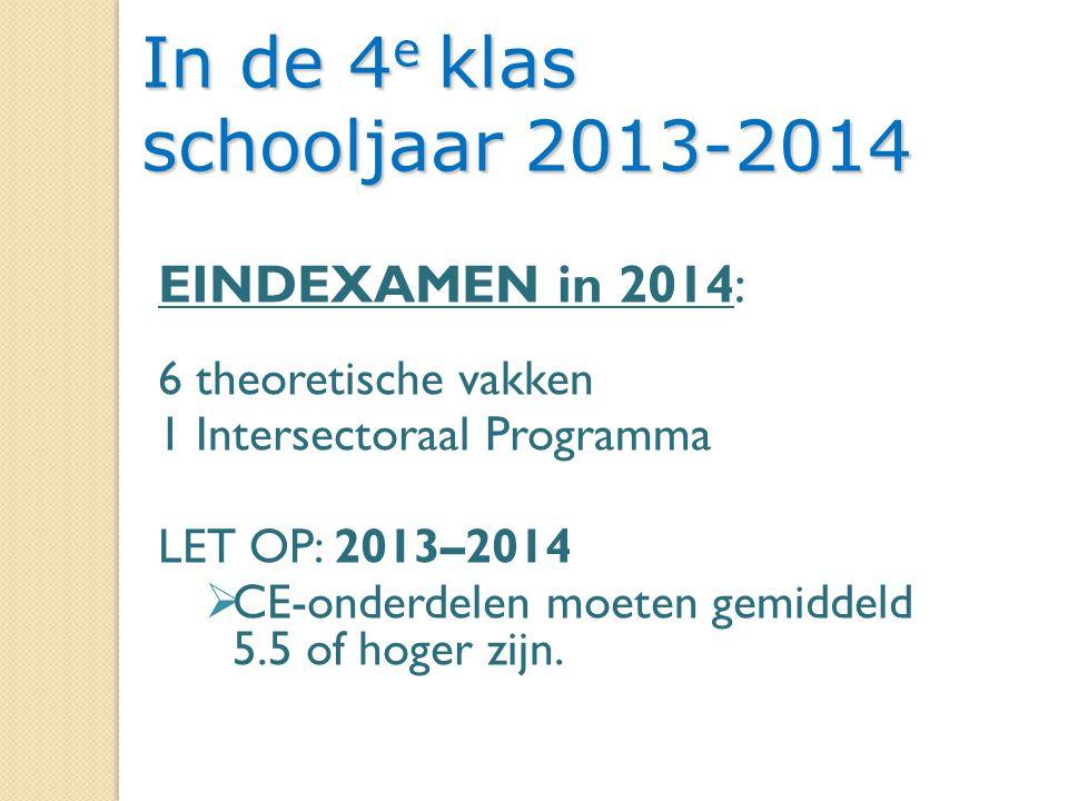 15 In de 4 e klas schooljaar 2013-2014 EINDEXAMEN in 2014: 6 theoretische vakken 1 Intersectoraal Programma LET OP: 2013–2014  CE-onderdelen moeten gemiddeld 5.5 of hoger zijn.
