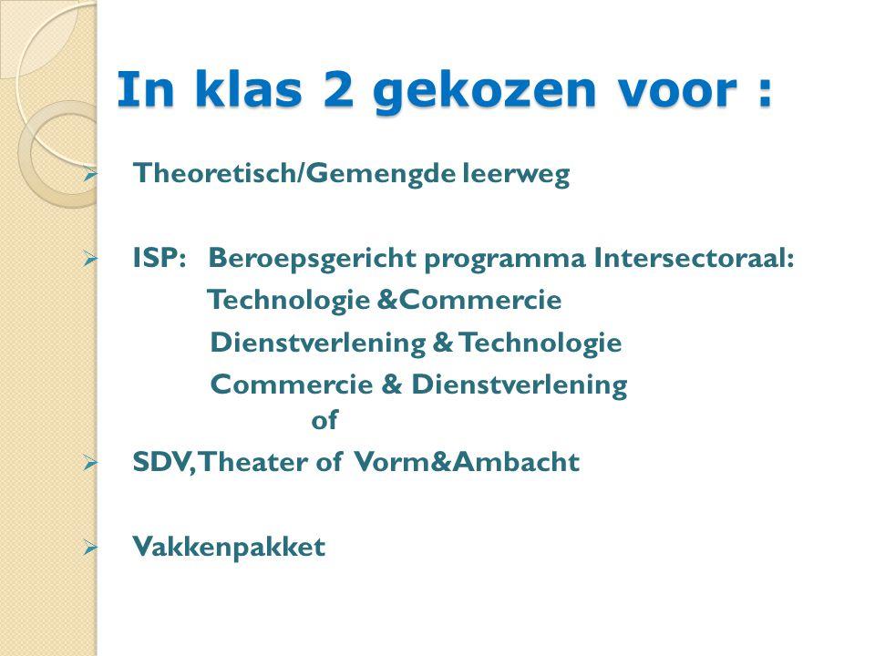 In klas 2 gekozen voor :  Theoretisch/Gemengde leerweg  ISP: Beroepsgericht programma Intersectoraal: Technologie &Commercie Dienstverlening & Technologie Commercie & Dienstverlening of  SDV, Theater of Vorm&Ambacht  Vakkenpakket