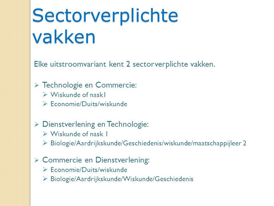 6 Sectorverplichte vakken Elke uitstroomvariant kent 2 sectorverplichte vakken.