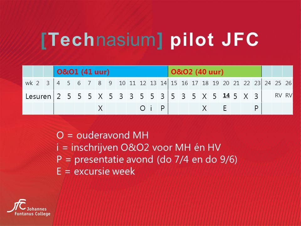 [Technasium] pilot JFC O&O1 (41 uur)O&O2 (40 uur) wk234567891011121314151617181920212223242526 Lesuren2555X533553535X5 14 5X3 RV XOiPXEP O = ouderavond MH i = inschrijven O&O2 voor MH én HV P = presentatie avond (do 7/4 en do 9/6) E = excursie week