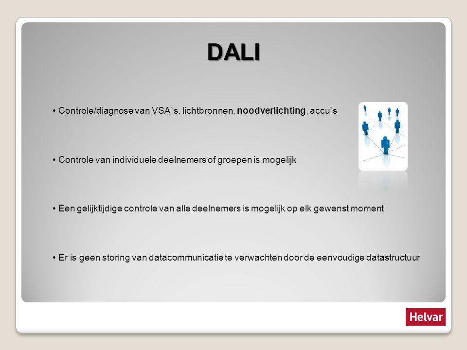 DALI Controle/diagnose van VSA`s, lichtbronnen, noodverlichting, accu`s Controle van individuele deelnemers of groepen is mogelijk Een gelijktijdige c
