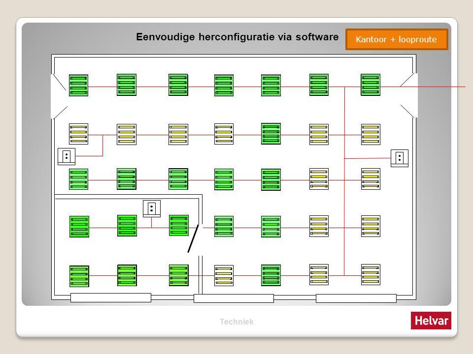 Eenvoudige herconfiguratie via software LooprouteWerkplek Kantoor Kantoor + looproute Techniek