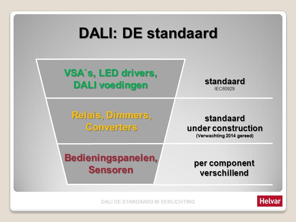 DALI: DE standaard VSA`s, LED drivers, DALI voedingen Relais, Dimmers, Converters Bedieningspanelen,Sensoren standaard IEC60929 standaard under constr