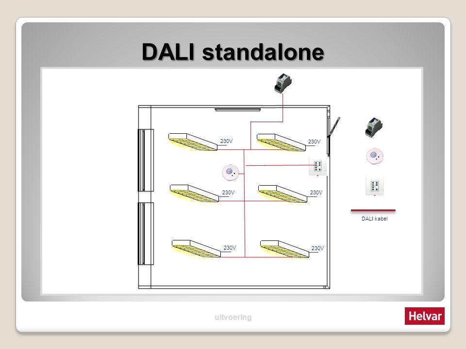 DALI standalone DALI maakt het mogelijk om VSA`s en LED drivers digitaal aan te sturen Elk VSA telt voor 1 adres en 2mA Een sensor telt voor 1 adres en 10mA of 15mA Bij een relaisunit telt elk schakelcontact voor 1 adres en de unit verbruikt totaal 2mA Bij de DALI armaturen mag de 230V een vaste aansluiting zijn, het schakelen gebeurt in de verbruiker Armaturen: 64 x 2mA = 128mA (max.