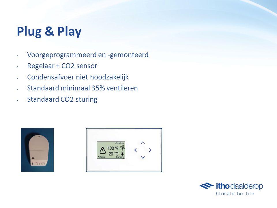 Plug & Play Voorgeprogrammeerd en -gemonteerd Regelaar + CO2 sensor Condensafvoer niet noodzakelijk Standaard minimaal 35% ventileren Standaard CO2 sturing