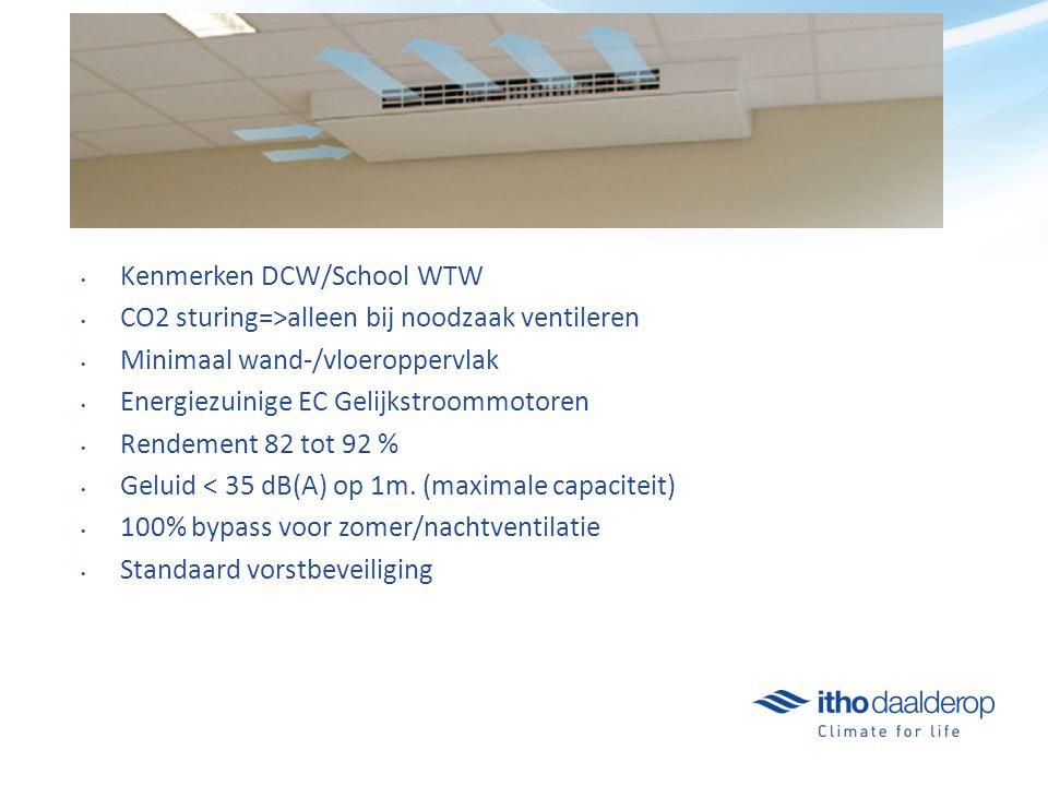Kenmerken DCW/School WTW CO2 sturing=>alleen bij noodzaak ventileren Minimaal wand-/vloeroppervlak Energiezuinige EC Gelijkstroommotoren Rendement 82 tot 92 % Geluid < 35 dB(A) op 1m.