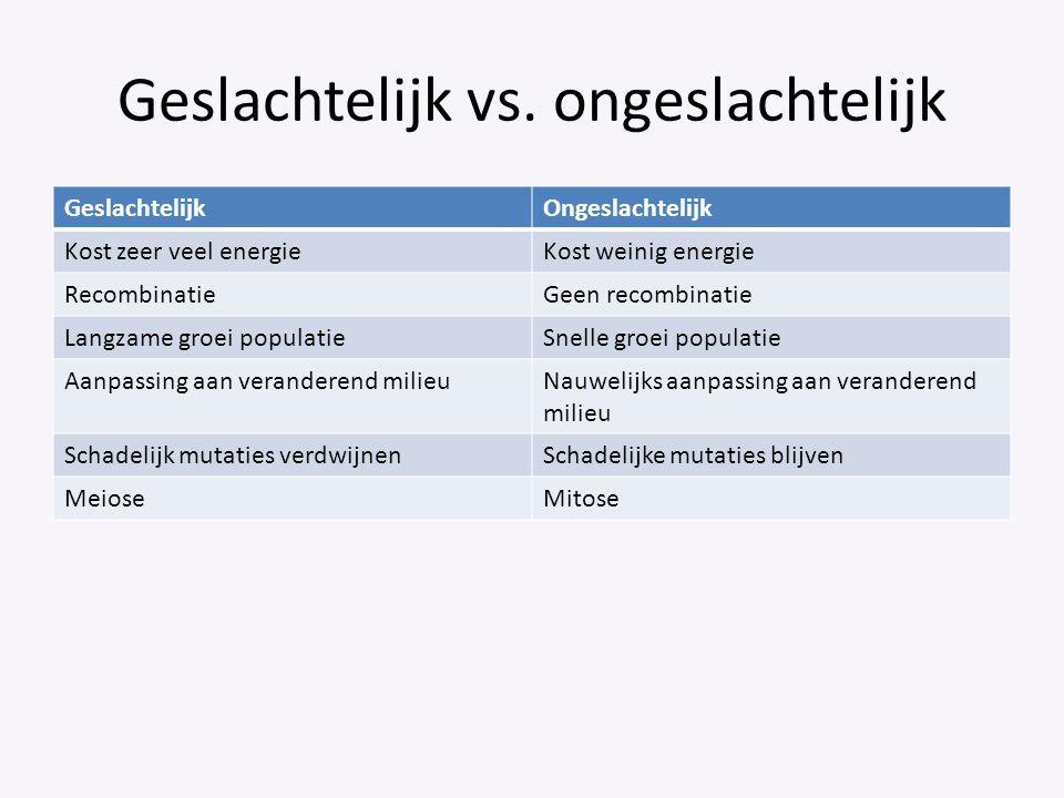 Geslachtelijk vs. ongeslachtelijk GeslachtelijkOngeslachtelijk Kost zeer veel energieKost weinig energie RecombinatieGeen recombinatie Langzame groei