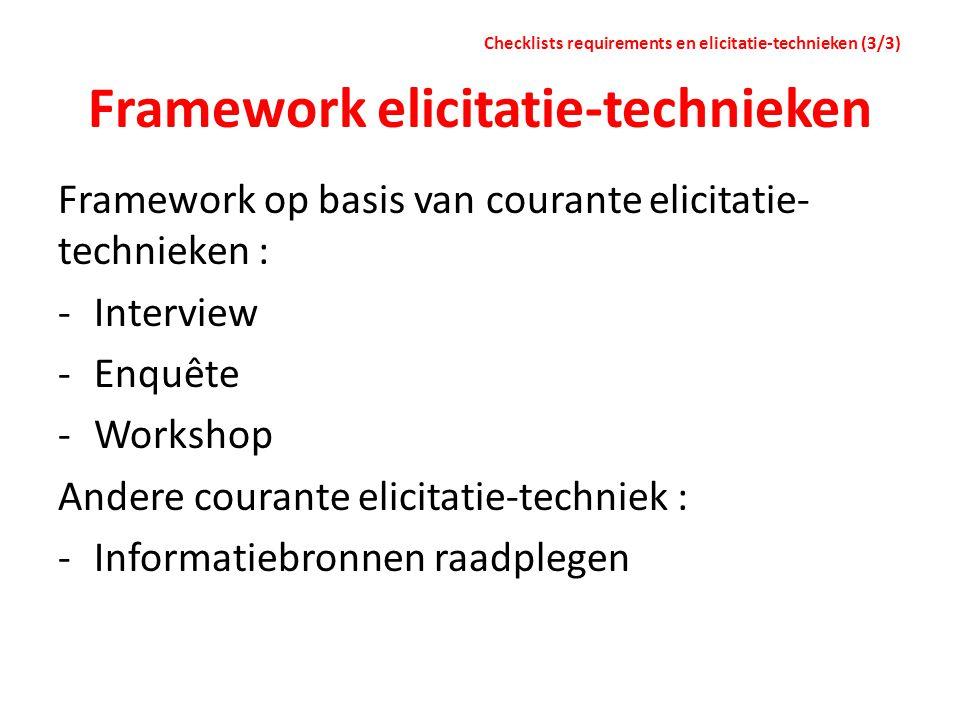 Framework elicitatie-technieken Framework op basis van courante elicitatie- technieken : -Interview -Enquête -Workshop Andere courante elicitatie-tech