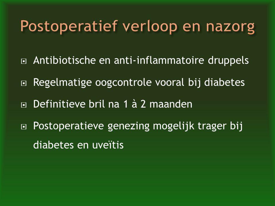  Antibiotische en anti-inflammatoire druppels  Regelmatige oogcontrole vooral bij diabetes  Definitieve bril na 1 à 2 maanden  Postoperatieve gene