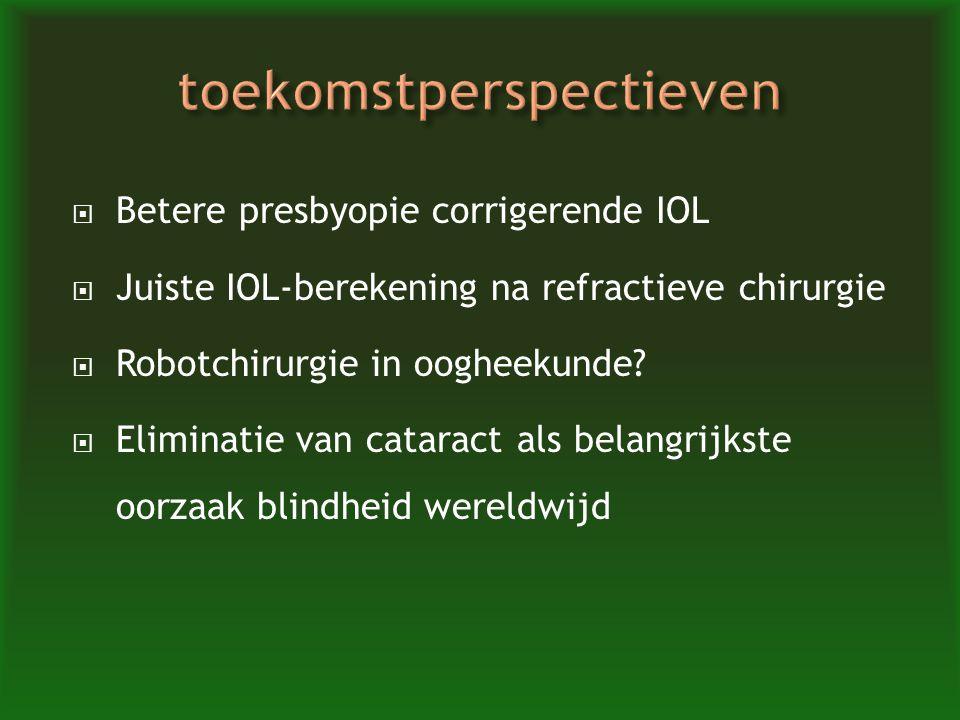  Betere presbyopie corrigerende IOL  Juiste IOL-berekening na refractieve chirurgie  Robotchirurgie in oogheekunde?  Eliminatie van cataract als b
