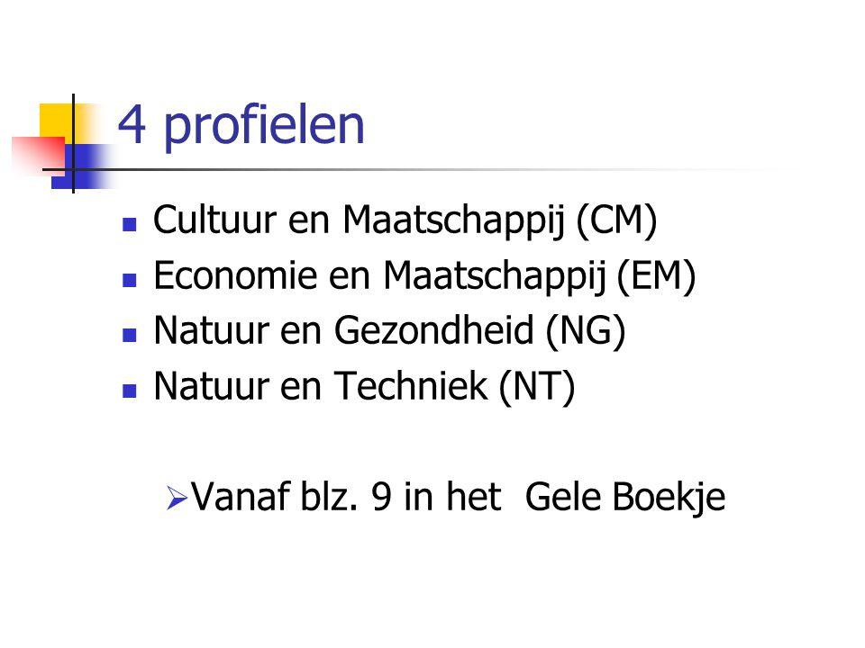 4 profielen Cultuur en Maatschappij (CM) Economie en Maatschappij (EM) Natuur en Gezondheid (NG) Natuur en Techniek (NT)  Vanaf blz.