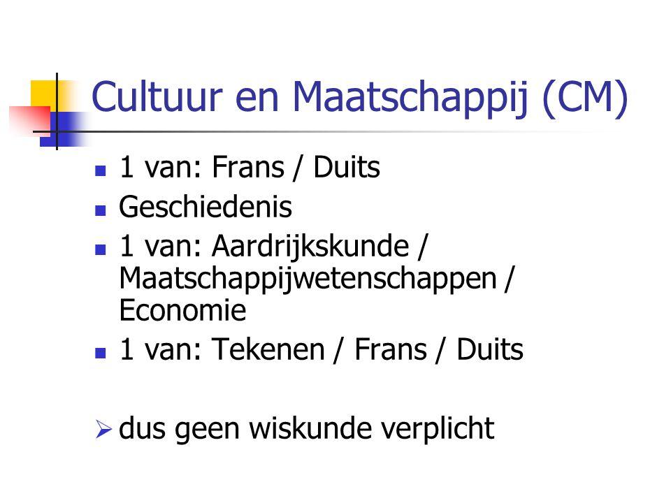 Cultuur en Maatschappij (CM) 1 van: Frans / Duits Geschiedenis 1 van: Aardrijkskunde / Maatschappijwetenschappen / Economie 1 van: Tekenen / Frans / Duits  dus geen wiskunde verplicht