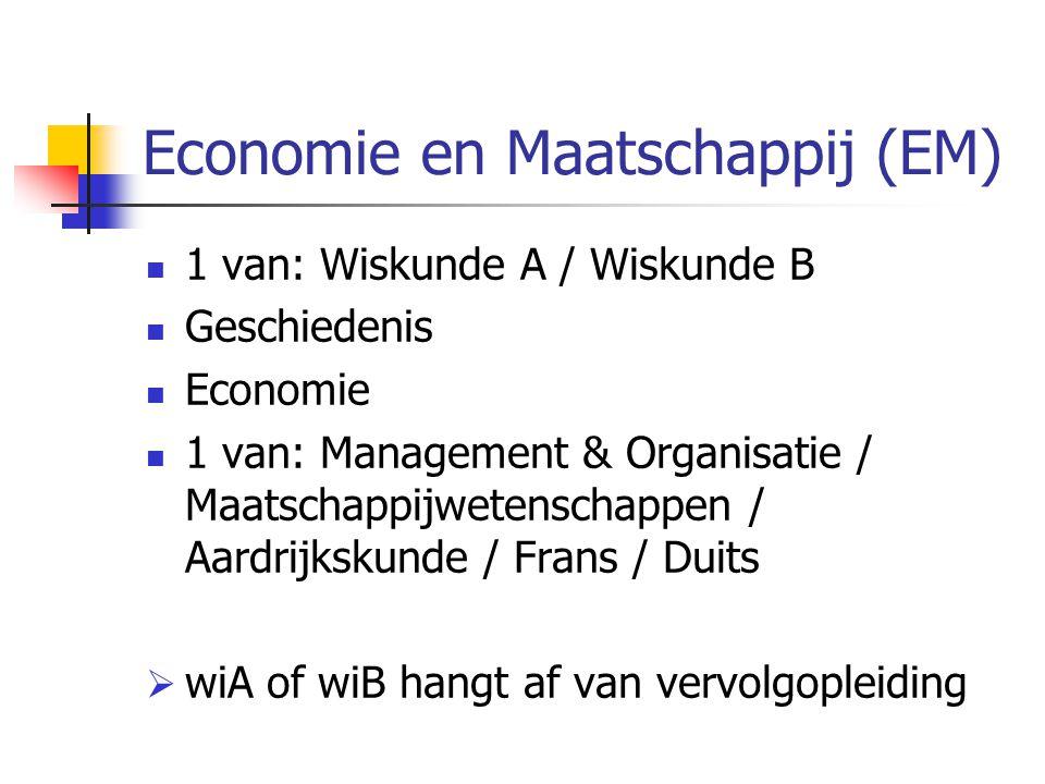 Economie en Maatschappij (EM) 1 van: Wiskunde A / Wiskunde B Geschiedenis Economie 1 van: Management & Organisatie / Maatschappijwetenschappen / Aardrijkskunde / Frans / Duits  wiA of wiB hangt af van vervolgopleiding