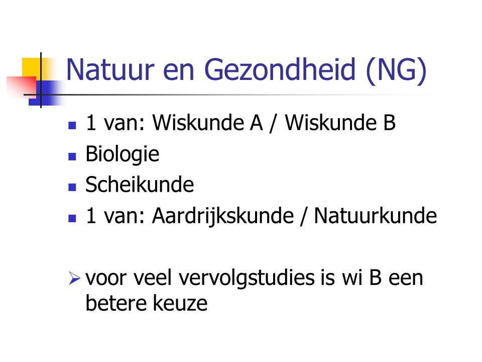Natuur en Gezondheid (NG) 1 van: Wiskunde A / Wiskunde B Biologie Scheikunde 1 van: Aardrijkskunde / Natuurkunde  voor veel vervolgstudies is wi B een betere keuze